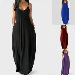 kvinnor sommar v-hals tank lång klänning casual solid ficka lös pa Red L