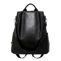 Womens Leather Backpack Anti-Theft Rucksack Handbag School Trav Black