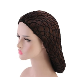 Womens Mesh Hair Net Crochet Cap Solid Color Snood Sleeping Nigh Black