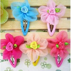 1 PAR Barn, Flickor prinsessan blomma hårspännen, Håraccessoarer GUL