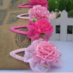 1 PAR Barn, Flickor prinsessan blomma hårspännen, Håraccessoarer ROSA