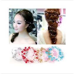 1m konstgjorda pärlor kedja bröllop hår accessoarer vit