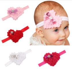 Baby hårband Princess flicka Blomma hjärta VIT