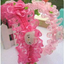 Barn, Flickor, Rose prinsessan blomma Hårband, Håraccessoarer ljusROSA