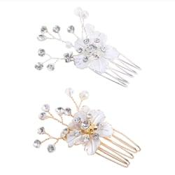 Bröllop pärla kristall hår klämma  silver