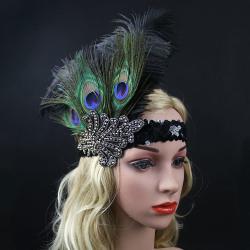Great Gatsby 1920 Vintage diadem hårband Fjäder