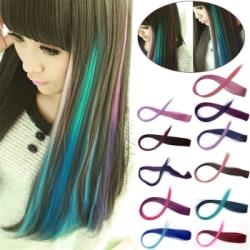 Håraccessoarer Flerfärgad neon rakt hår peruk förlänga Grön (blå)-svart