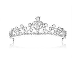 Kristall bröllop hår krona tiara silver