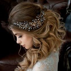Kvinnor hårband  bröllop diadem pärla Kristall silver
