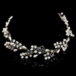 Kvinnor hårband  bröllop diadem pärla  silver