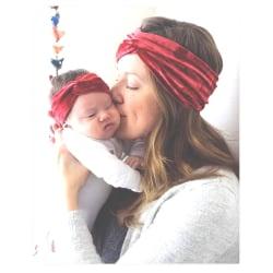 Mamma & baby hårband 2st / Set Sammet BEIGE