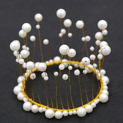 Pärla bröllop hår krona tiara  GULD