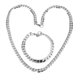 Rostfritt stål halsband + armband Set 11mm