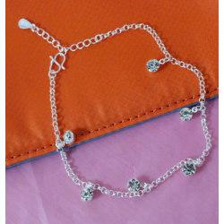 Silverpläterad fot kedja fotlänk armband  silver