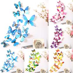 3D heminredning fjäril väggdekaler för rum väggdekaler pink 12pcs