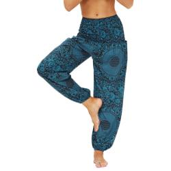 Digitaltryckta yogabyxor, löst sittande byxor, kvinnor