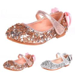 Flickor kristallhuvud platt läderskor Bekväma sålskor Pink 26
