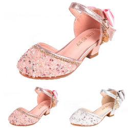 Flickor Crystal Princess skor mjuka ensam prestanda höga klackar Pink 17.5cm