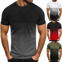 Gradient rund hals kortärmad - Casual sport-T-shirt - för M Grey M