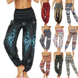 Ladies Bloomers,Digital Printing,Yoga Pants Casual Trousers Deep Blue