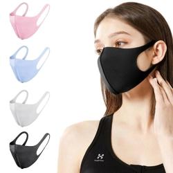 4 Pack Tvättbar mask Munskydd Skyddsmask Svart (Vuxen) Svart - 4st