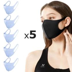 5 Pack Tvättbar mask Munskydd Skyddsmask Blå (Vuxen) Blå - 5st