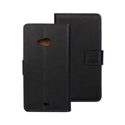 Äkta Läder Plånboksfodral till Microsoft Lumia 535 - Svart