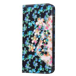 Booming Flowers Plånboksfodral till Apple iPhone 8 Plus - Blå