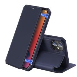 Dux Ducis Auto-absorbed Läder Plånboksfodral iPhone 12 Mini - Bl