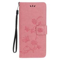 Imprint Läder Plånboksfodral iPhone 12 Mini - Rosa