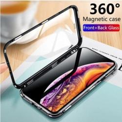 iPhone X|Xs Skal Magnetisk Metallram + Härdat Glas Heltäckande F