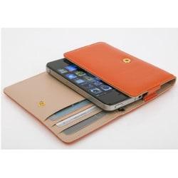 Läder mobilväska och plånbok i ett (Orange)
