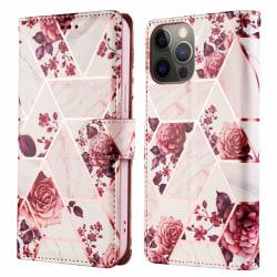 Marble Grid Plånboksfodral iPhone 12 Pro Max - Rosor