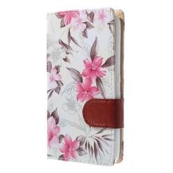 Plånboksfodral till Sony Xperia E4 - Blommor (Vit)