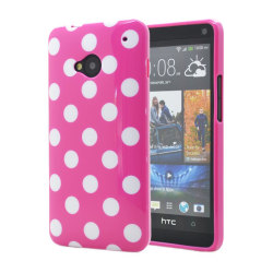 Polka dots FlexiSkal till HTC ONE / HTC  M7 (Magenta)