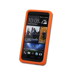 Seepoo Silikonskal till HTC One (M7) (Orange) + Skärmskydd