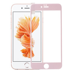 Tempered Glass skärmskydd med rosa kanter till iPhone 6   /   6S