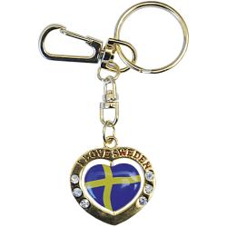 Sverige Nyckelring Hjärta Spinner