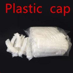 Engångsplast duschmössa vattentät för kvinnor hatt spa vit plast 100st