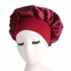 Fast färg långt hårvård kvinnor satin motorhuven mössa 6