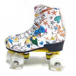 Rullskridskor skor med dubbla rader Print White 40