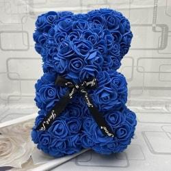 Söt rosblomma nallebjörn konstgjord dekoration julklappar, marinblå25cm ingen låda