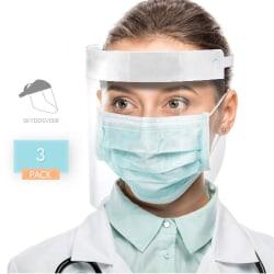 3-Pack Visir - Ansiktsskydd - Skyddsvisir - Skydd Ansikte & Mun Blå