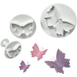 3st Fjärilar Utstickare Ejector Färil Plunger Set - BakeCake Vit