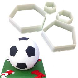 4st Fotboll Soccer Utstickare Cutter Hexagon Sockerpasta Sugarpa multifärg