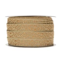 Band Barock Mullvad/Guld Dekorationsband 12mm x 5m Guld