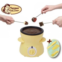 Bestron chokladfondue för 2 personer, mini-chokladfondueset, ink Gul