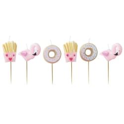 Donut & Flamingo Tårtljus Vit