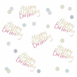 Happy Birthday Konfetti Pastel Silverglas