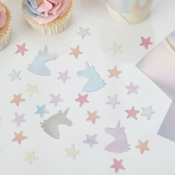 Iridescent Unicorn Stjärnor Konfetti - Ginger Ray Silverglas